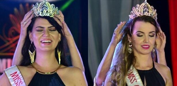 Do lado esquerdo, a Miss Ji-Paraná, que foi coroada erroneamente. Do lado direito, a verdadeira vencedora, Miss Cacoal, segundo a organização do concurso