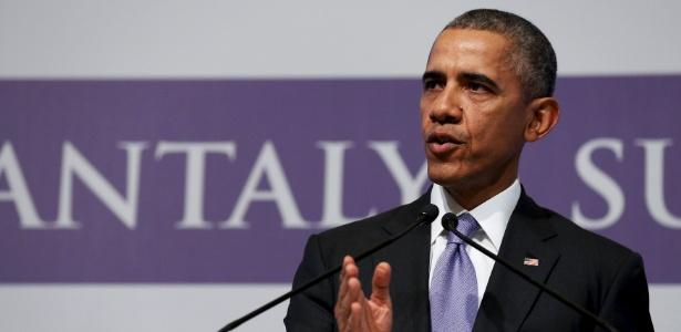 O presidente dos EUA, Barack Obama, dá entrevista coletiva ao fim da cúpula do G20, em Antália, na Turquia