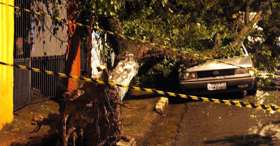 21.mai.2016 - Com o temporal da noite de sexta-feira, uma árvore caiu sobre um carro no bairro Vila Nova Cachoeirinha, na zona norte de São Paulo. A forte chuva que caiu na cidade fez rios transbordarem e alagou ruas