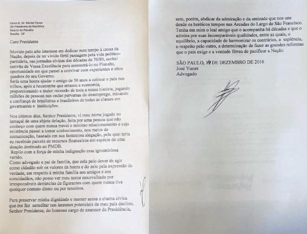 Carta de demissão de José Yunes entregue a Temer
