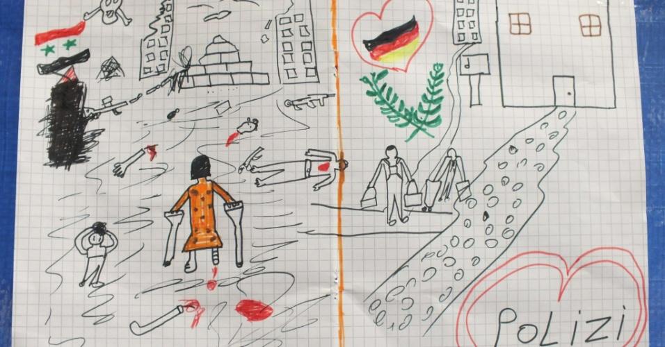 25.set.2015 - Desenho de criança síria refugiada em Passau, sul da Alemanha, mostra a guerra em seu país natal e a chegada à Europa. A ilustração foi dada, como forma de agradecimento, para um policial da Bavária