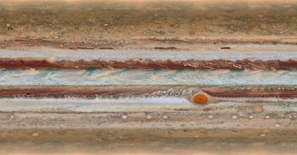 14.out.2015 - ATMOSFERA DE JÚPITER - Esta nova imagem do maior planeta do Sistema Solar, Júpiter, foi feita durante o programa Outer Planet Atmospheres Legacy, um projeto da Nasa (Agência Espacial Norte-Americana) que usa o telescópio Hubble para captar imagens de todos os planetas do sistema solar. As imagens deste programa tornam possível determinar as velocidades de ventos de Júpiter, para identificar fenômenos diferentes em sua atmosfera e para acompanhar as mudanças em suas características mais famosas