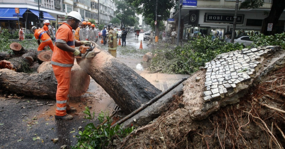 21.nov.2015 - Vento e chuva forte provocaram a queda de uma árvore em Copacabana, zona sul do Rio de Janeiro, na esquina das ruas Barata Ribeiro e Hilário de Gouvêia