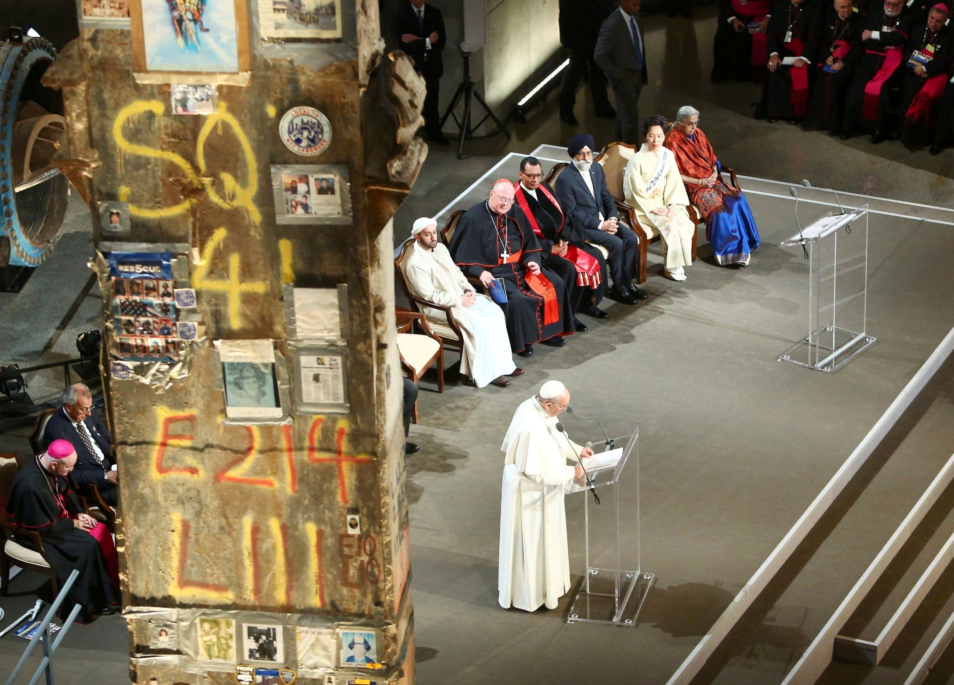 25.set.2015 - O papa Francisco em celebração ecumênica no Memorial do 11 de Setembro, em Nova York. O ato aconteceu logo após discurso do líder religioso em prévia da Assembleia Geral das Nações Unidas