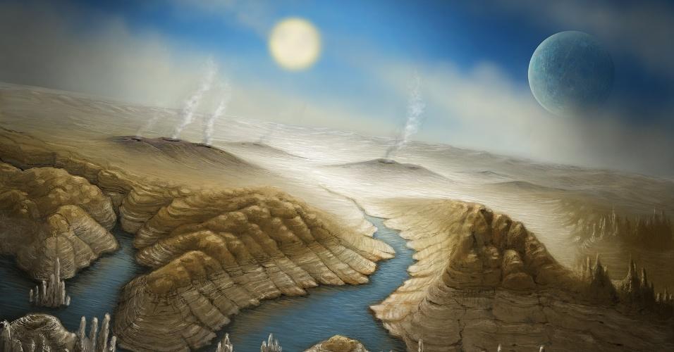23.jul.2015 - Impressão artística mostra a superfície do planeta Kepler 452b. Com um diâmetro 60% maior do que o da Terra, acredita- se que ele também tenha formação rochosa, assim como uma atmosfera espessa e quantidade de água significante, embora sua massa e sua composição ainda não estejam totalmente determinados. Para a Nasa, há indícios de que o planeta tenha condições de habitar vida