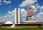 Boneco inflável de Lula usado no protesto em Brasília vira meme (Foto: Reprodução/Twitter/@LulaInflado)