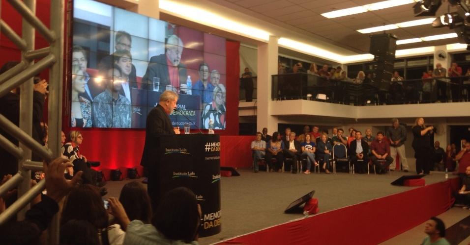 1°.set.2015 - Luiz Inácio Lula da Silva discursa durante lançamento do Memorial da Democracia