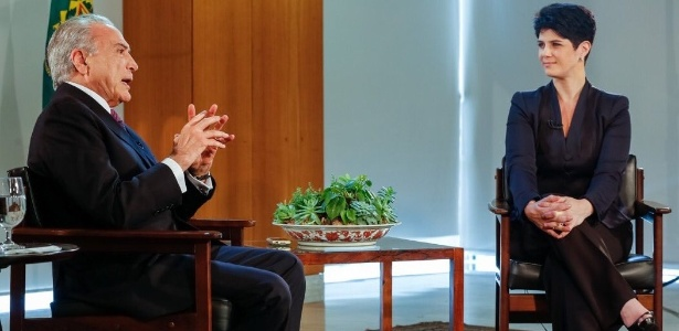 O presidente Michel Temer concede entrevista à jornalista Mariana Godoy, da RedeTV!