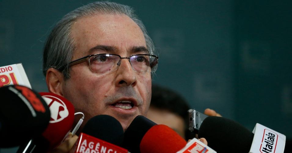 02.dez.2015 - O presidente da Câmara, Eduardo Cunha (PMDB-RJ), anuncia que aceita o pedido de impeachment da presidente Dilma Rousseff feito pelos juristas Helio Bicudo e Miguel Reale Junior