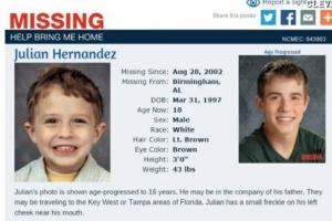 Julian Hernandez na época do sequestro; a imagem à direita simula sua aparência aos 18 anos, antes de ter sido encontrado