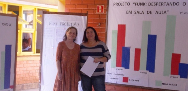 Marlúcia Brandão (à dir.) com a exposição dos resultados da pesquisa sobre funk