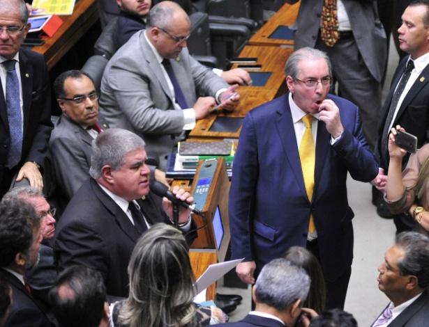 O deputado federal Carlos Marun (PMDB-MS) durante a votação de cassação de Eduardo Cunha, a quem defendeu até o último minuto