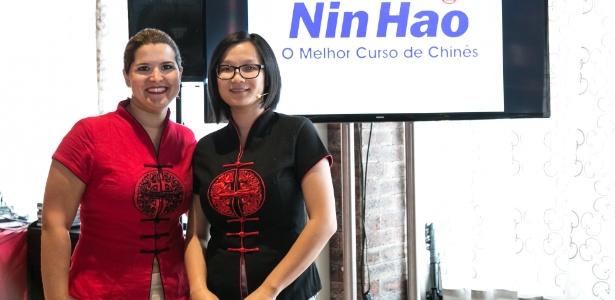 Sumara Lorusso, da Nin Hao, e Jiang Pu, ex-MasterChef, em evento para alunos