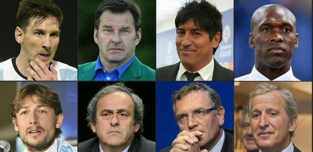 Da esquerda para a direita: Messi, o golfista Nick Faldo, o ex-atacante Zamorano, o técnico Seedorf, o lateral Heinze, Michel Platini, Jerome Valcke e Juan Pedro Damiani