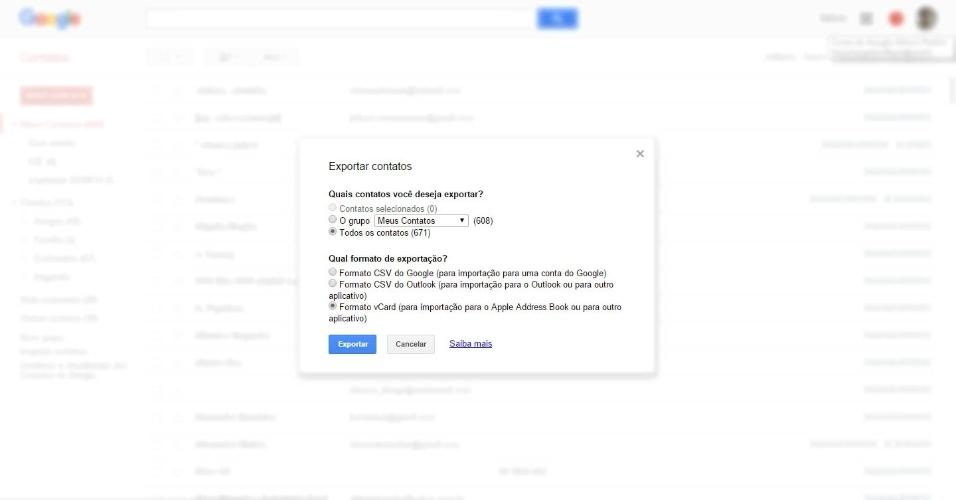 """De Android para iPhone - Passo 2: Vai aparecer uma tela intitulada """"Exportar contatos"""" com algumas opções. Deixe habilitado """"Todos os contatos"""" e """"Formato vCard (para importação para o Apple Address Book ou para outro aplicativo)"""". Depois clique no botão azul """"Exportar"""", depois em """"Salvar arquivo"""". Na próxima janela, escolha onde vai salvar o arquivo """"Contacts.vcf"""" e clique em """"Salvar""""."""