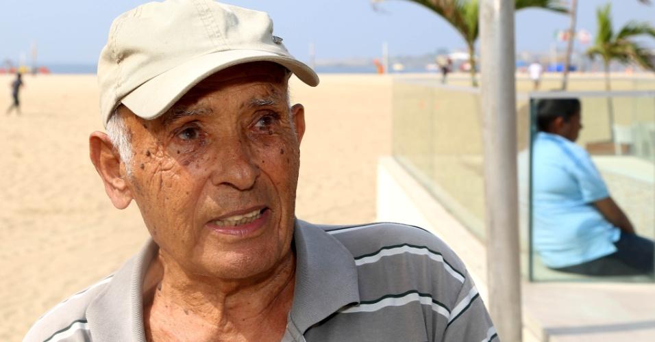 24.set.2015 - O português Aurelino Santos, 86, é casado com uma brasileira e viaja ao Rio há 20 anos.