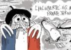 Pneu sobre a bandeira francesa e mais: o ataque em Nice no olhar de artistas - Chiquinha/UOL