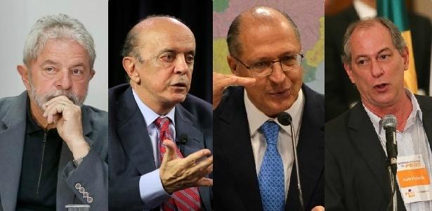 Montagem mostra o ex-presidente Lula (PT), o senador José Serra (PSDB), o governador de SP, Geraldo Alckmin (PSDB), e o ex-governador do Ceará Ciro Gomes (PDT)