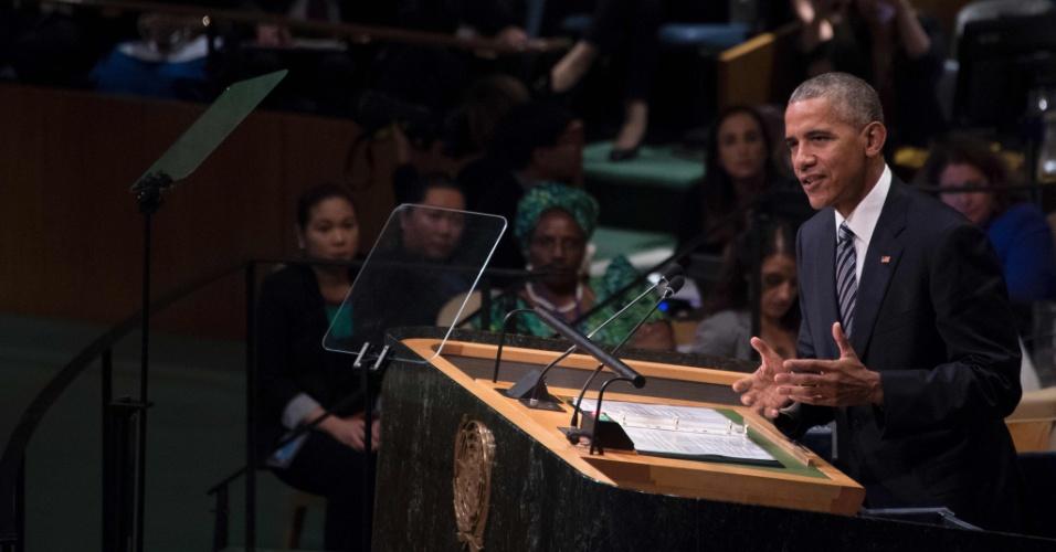 20.set.2016 - Barack Obama discursa na 71ª Assembleia-Geral da ONU, em Nova York