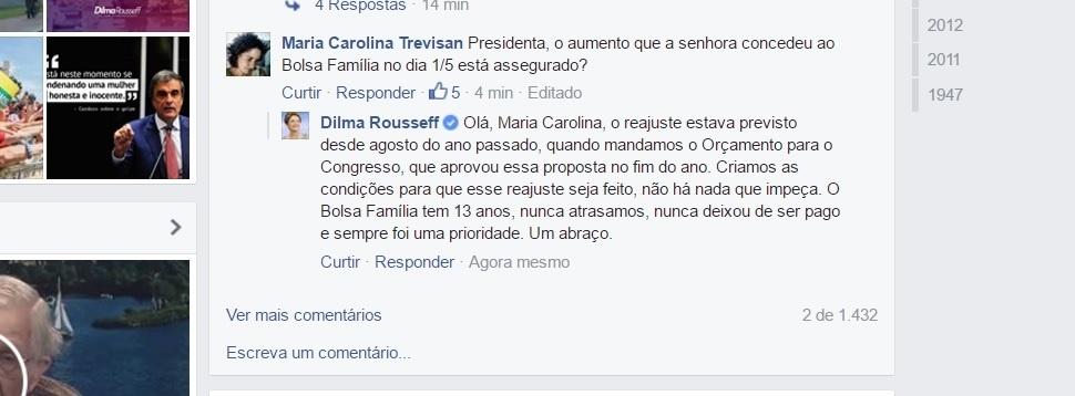 18.mai.2016 - Em conversa com internautas em sua página no Facebook, a presidente afastada Dilma Rousseff diz que