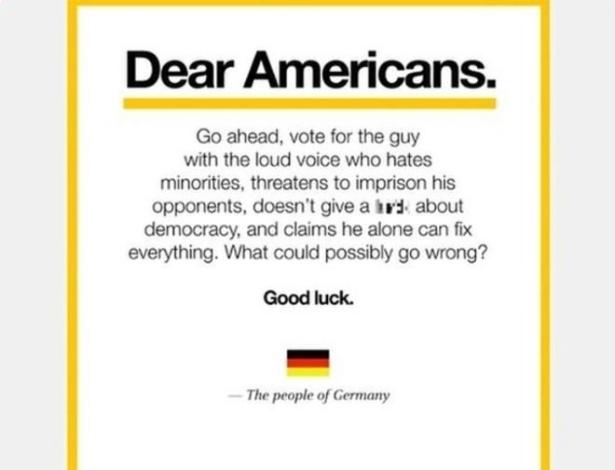 """Meme atribuído """"ao povo alemão"""" viralizou e gerou muita controvérsia nas redes"""