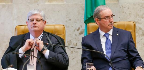 Para Janot (à esq.), Cunha usa a Presidência da Câmara para intimidar pessoas