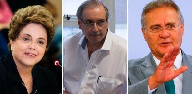 Da esquerda para direita: Dilma Rousseff, Eduardo Cunha e Renan Calheiros