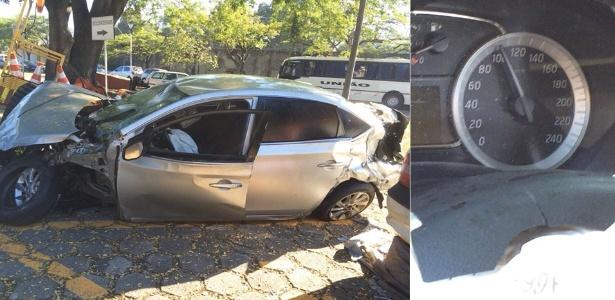 18.jun.2015 - Márcio José Benevides morreu em acidente na ponte Rio-Niterói pouco depois de perder carteira e voltar a dirigir; painel marcava excesso de velocidade