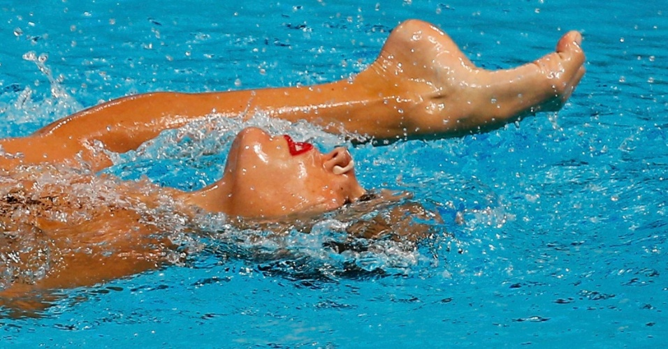 27.jul.2015 - A espanhola Ona Carbonell faz apresentação solo de nado sincronizado no Campeonato Mundial de natação Kazan 2015, na Rússia