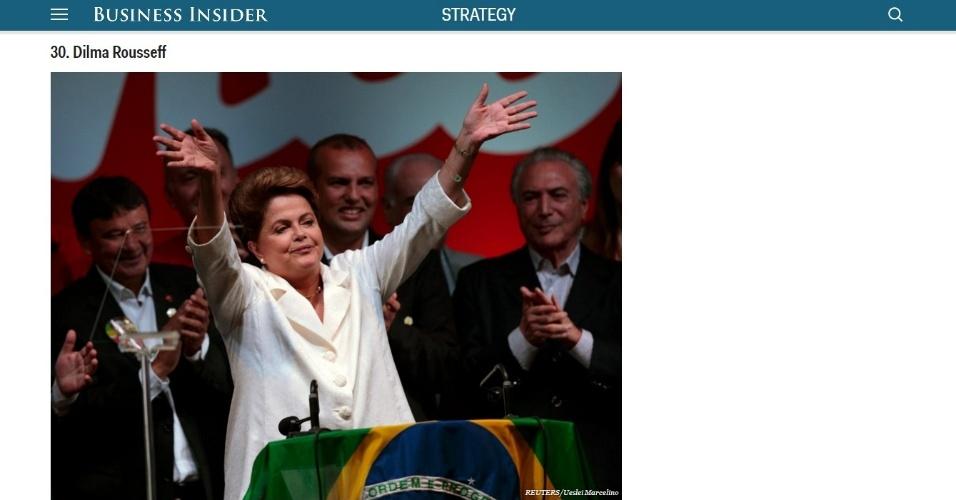 17.nov.2015 - A presidente Dilma Rousseff ficou na 30ª posição na lista das 50 pessoas mais poderosas do mundo publicada pelo site de notícias econômicas e de tecnologia Business Insider