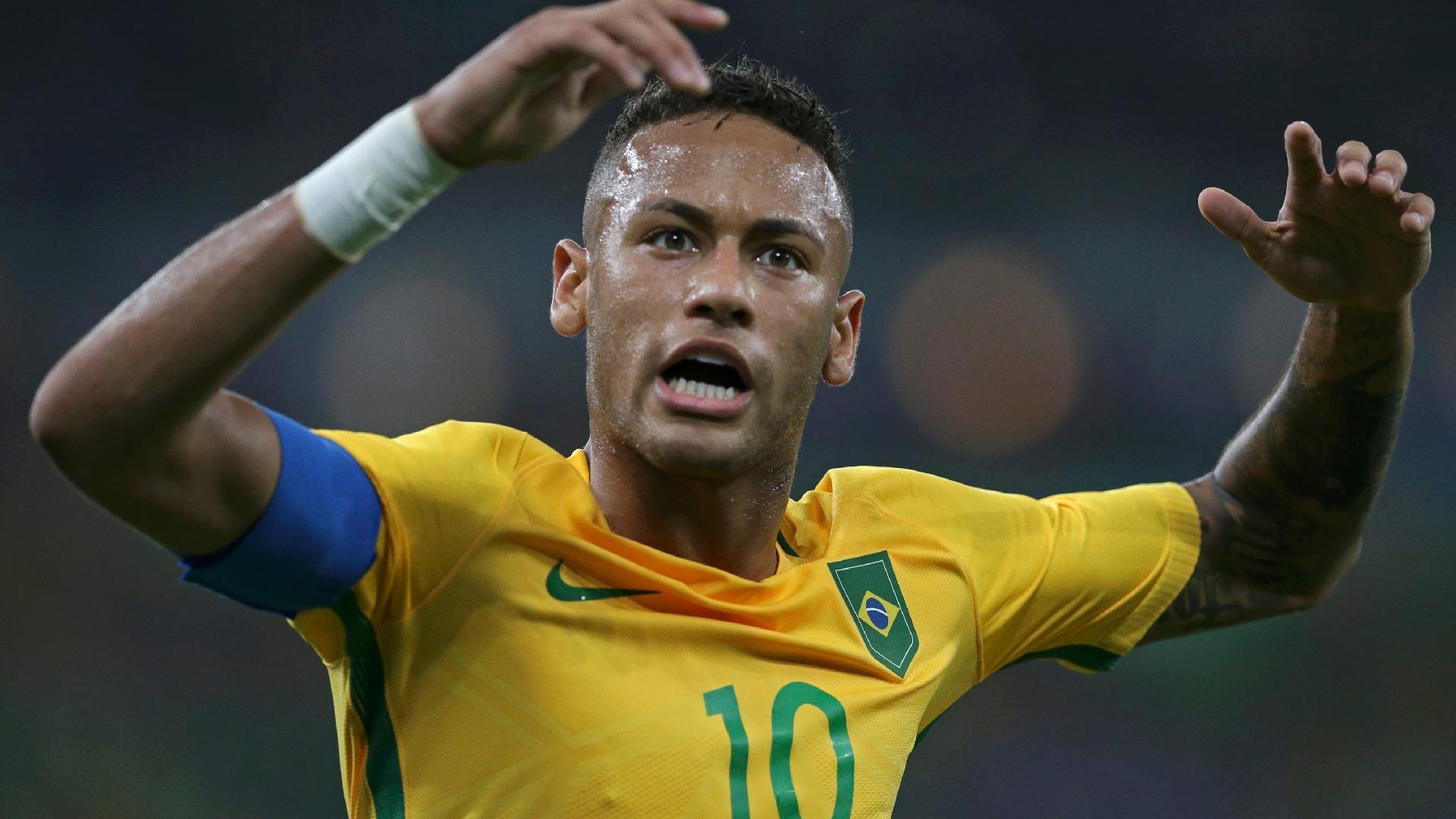 Neymar comemora primeiro gol marcado contra a Alemanha na final olímpica disputada no Maracanã