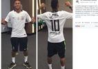 Neymar com camisa corintiana irrita torcedores e vira piada de santistas - Reprodução/Facebook