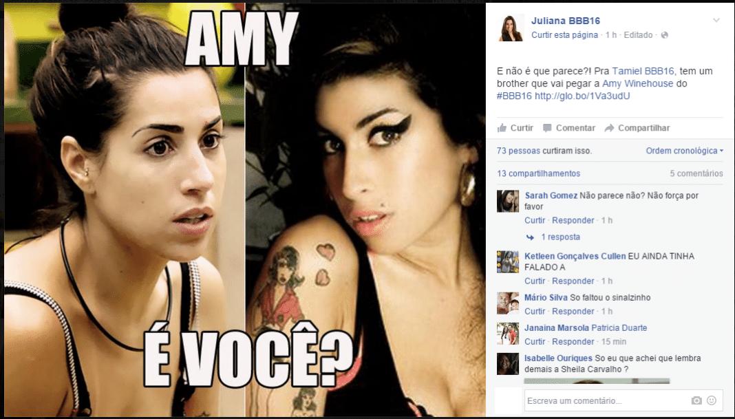 21.jan.2016 - Comparação de Juliana com a cantora Amy Winehouse é um dos principais memes da internet