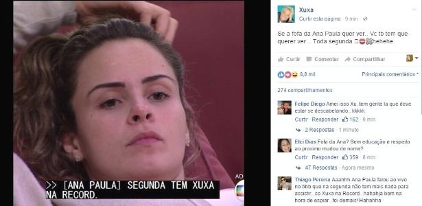 """Xuxa aproveitou a divulgação de Ana Paula em sua antiga emissora e publicou no Facebook: """"Se a fofa da Ana Paula quer ver, você também tem que querer"""""""