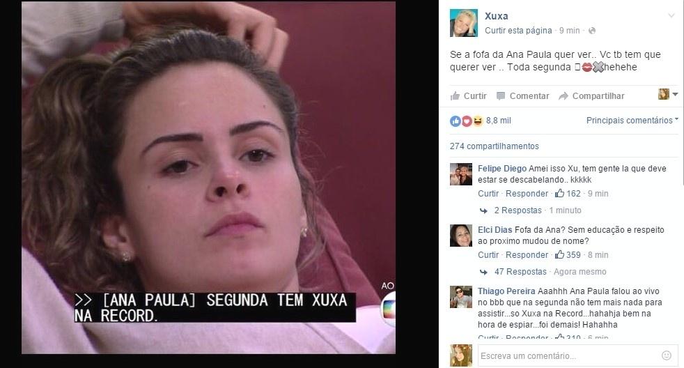 29.fev.2016 - A apresentadora Xuxa aproveitou a divulgação de Ana Paula em sua antiga emissora e publicou no Facebook: