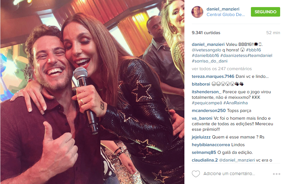 6.abri.2016 - Daniel tieta Ivete Sangalo no show da final do
