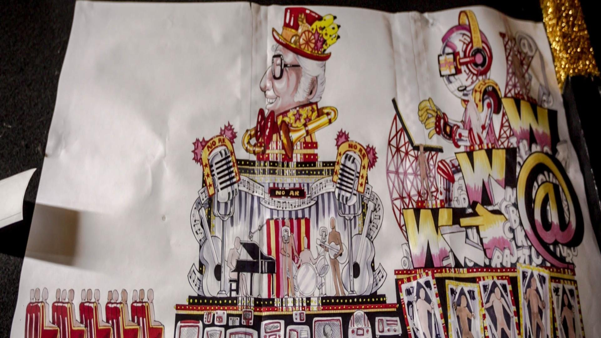 17.jan.2013 Desenho do carro alegórico que terá Chacrinha como personagem principal e logo atrás o carro que transimite a era da informatização