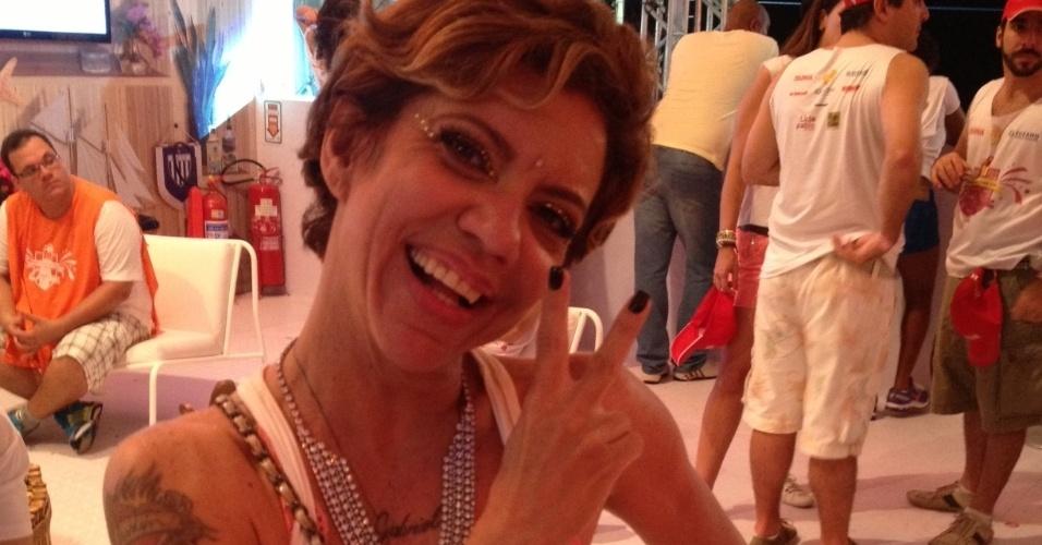 8.fev.2013 - A apresentadora Astrid Fontenelle durante o Carnaval de Salvador