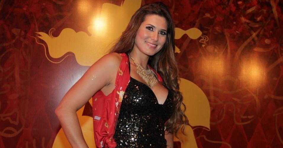 08.fev.2013 - A modelo e apresentadora Lívia Andrade aparece Camarote Brahma em São Paulo