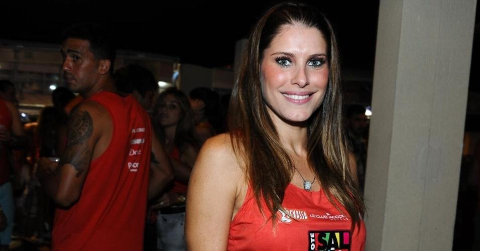 9.fev.2013 - A apresentadora Ana Luisa Castro no Camarote Salvador