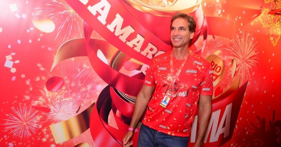 16.fev.2013 - Victor Fasano em camarote durante o desfile das campeãs do Carnaval Carioca