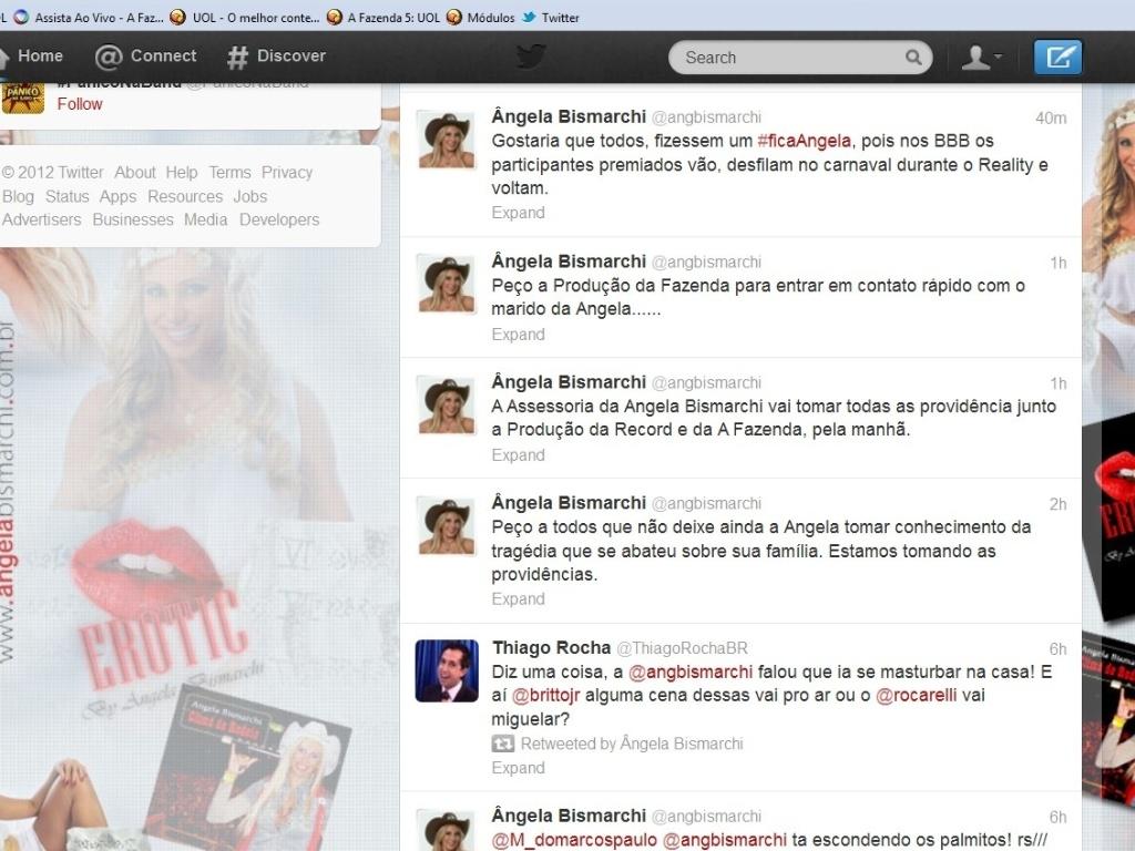 Twitter oficial de Ângela Bismarchi anuncia