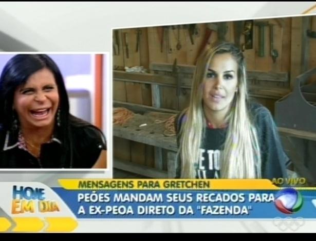 Gretchen ri de depoimento de Robertha Portella, que agradece a cantora por ter saído de