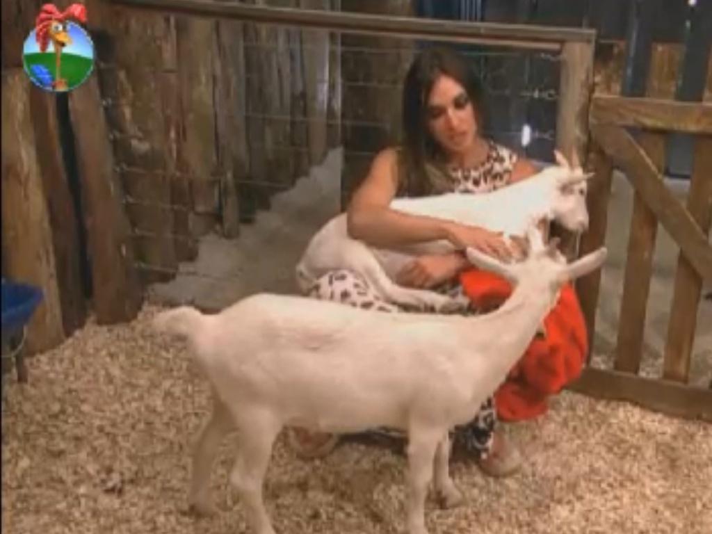Nicole Bahls desbafa com cabras depois de roça (2/8/12)