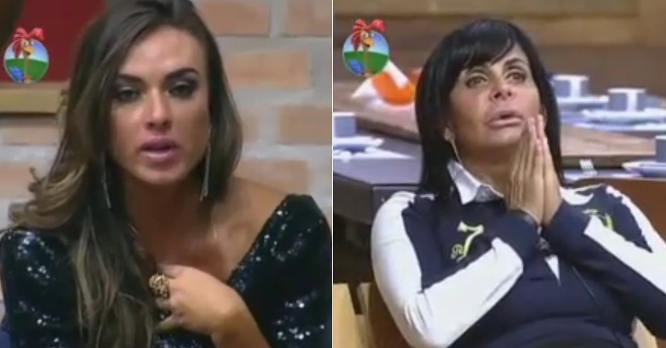 Nicole Bahls (esq.) se irrita com comentrio de Gretchen (dir.) sobre seu vestido (02/6/12)