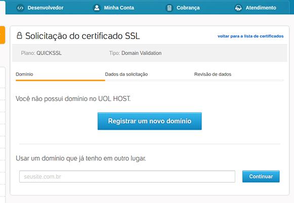 Certificado Digital SSL - Escolha de Domínio - Painel UOL Host