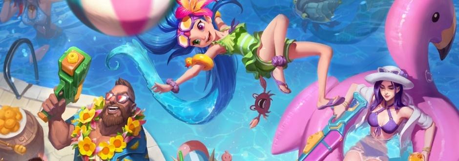 Novas skins 'Festa na Piscina' serão lançadas para Gangplank, Caitlyn e Zoe