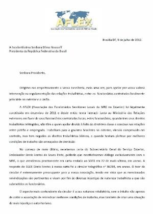 Funcionários do Itamaraty no exterior escreveram carta à presidente Dilma Rousseff