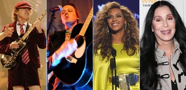 As bandas AC/DC e Arcade Fire, e as cantoras Beyonce e Cher (da esq. para a dir.)