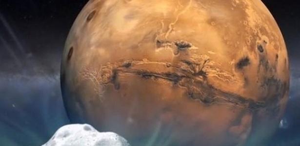 Concepção artística do cometa Siding Spring, que passará próximo a Marte